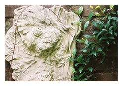 Sculpture by Christine Sibley in garden of Inman Park Bed and Breakfast in Atlanta, Georgia
